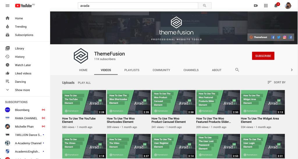 Themefusion youtube account