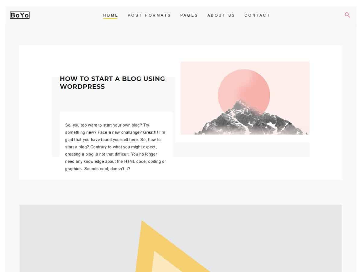 BOYO Portfolio - free wordpress theme