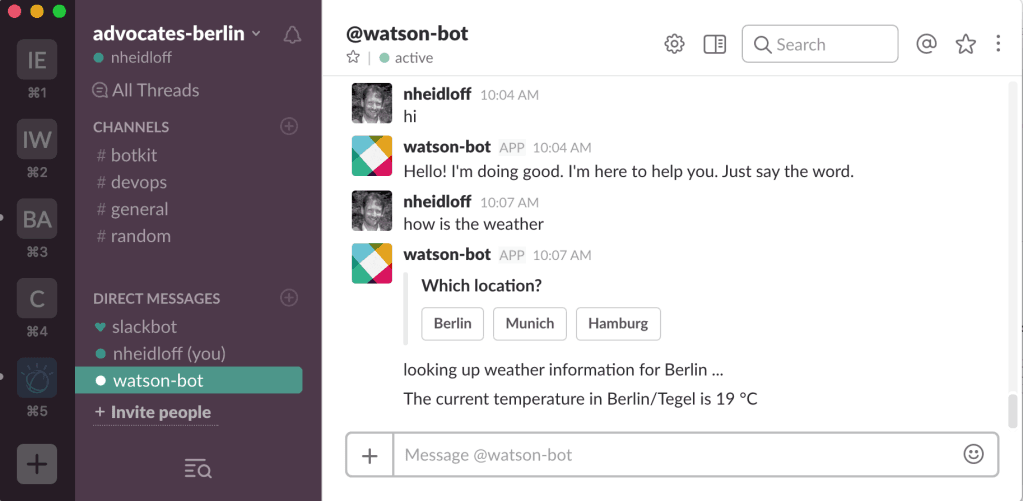 slack bot integration