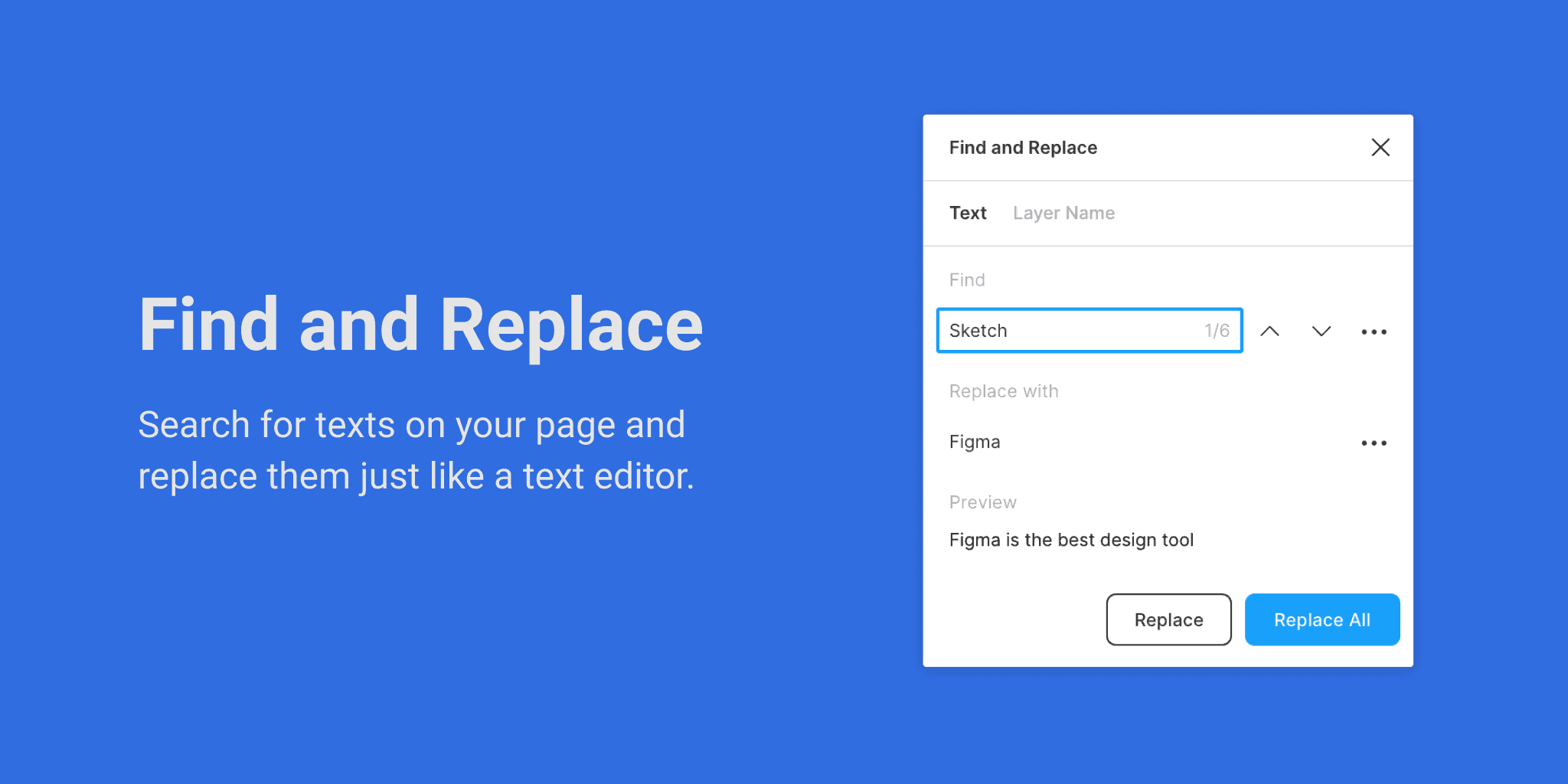 Find and Replace Figma plugins typography